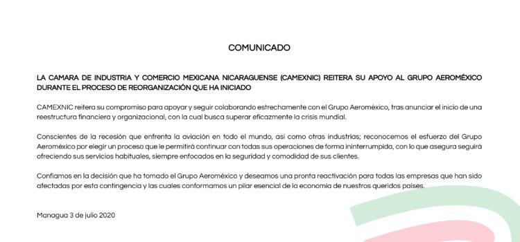 CAMEXNIC reitera su apoyo al grupo AEROMEXICO durante el proceso de reorganización que ha iniciado